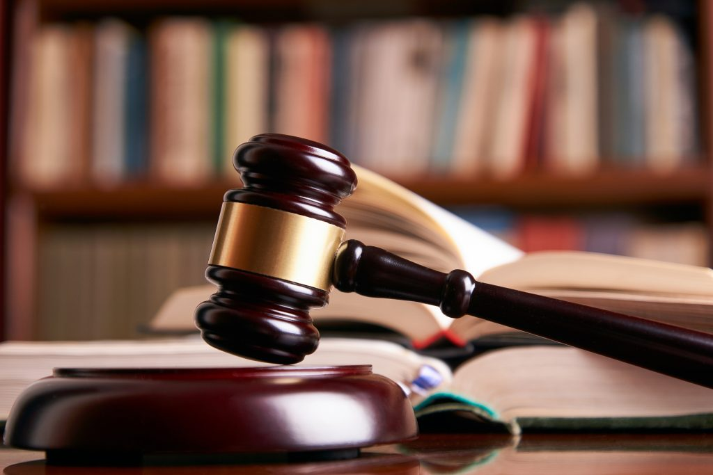 Law gavel or judge mallet