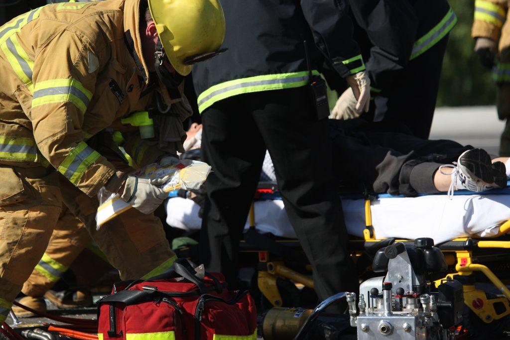 Emergency crew removing a victim