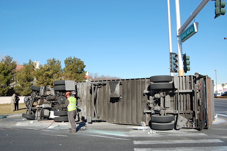 Overturned Truck on road